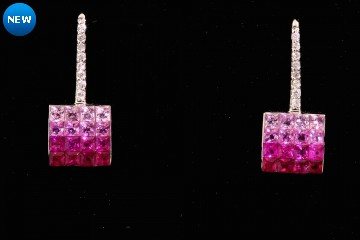 14kwg sapphire and diamond invisible-set earrings.  Orig. $1950.00