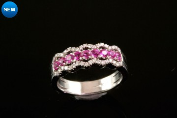 18kwg pink sapphire and diamond ring.  Orig. $1900.00