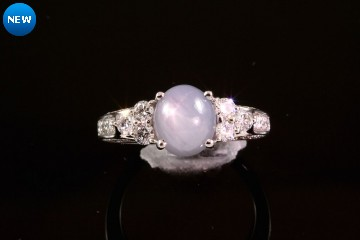 18kwg natural grey star sapphire and diamond ring