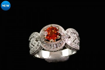 18kwg orange sapphire and diamond ring
