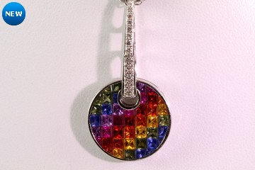 18kwg invisible set sapphire and diamond pendant