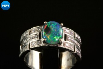 14kwg black opal and diamond ring