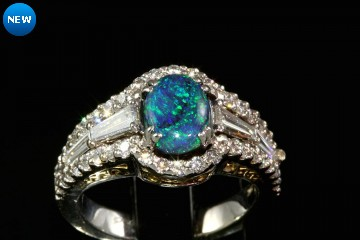 14k two tone black opal and diamond ring