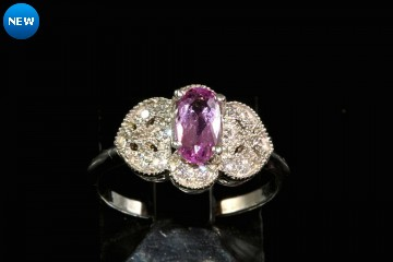 14kwg pink imperial topaz and diamond ring