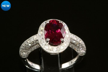18kwg rubellite tourmaline and diamond ring