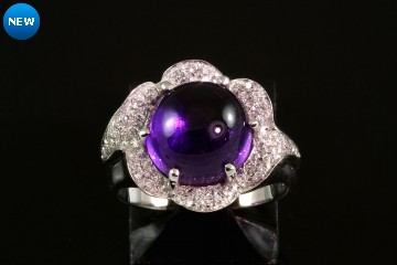 18kwg amethyst and diamond ring