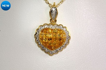 18kyg  golden sapphire and diamond heart