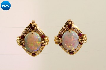 18k yellow gold crystal/black opal, ruby, and diamond earrings