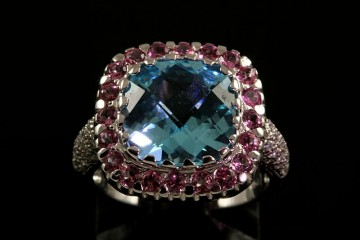 18k blue topaz, tourmaline and diamond ring