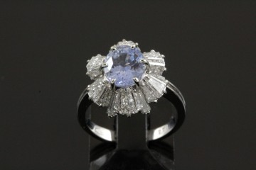 plat unheated natural sapphire and diamond ring
