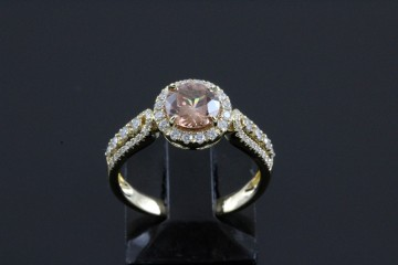14kyg natural zircon and diamond ring