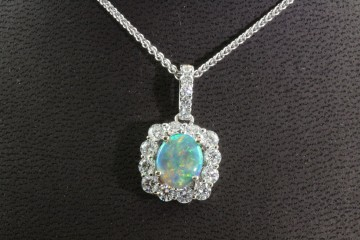18kw opal and diamond pendant