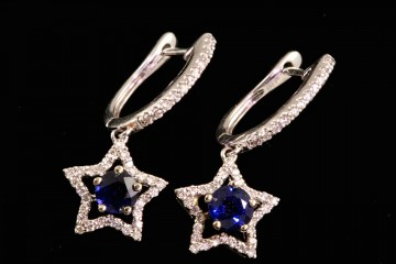 14kwg sapphire and diamond 'star' earrings