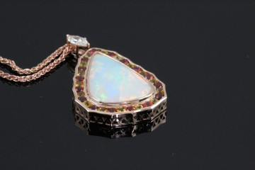 14krg sapphire and opal pendant