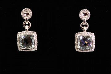 14kwg aquamarine and diamond dangle earrings