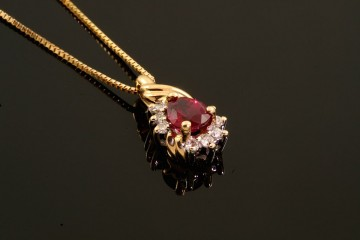 14kyg ruby and diamond pendant.  Orig. $825.00