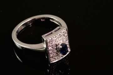14kwg sapphire and diamond ring.  Orig. $900.00
