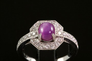 18kwg star ruby and diamond ring