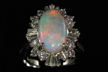 14kwg crystal opal and diamond ring
