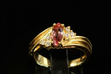 18kyg pink imperial topaz and diamond ring