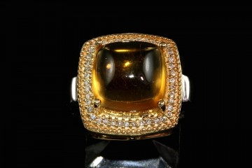 14ktt cabochon citrine and diamond ring