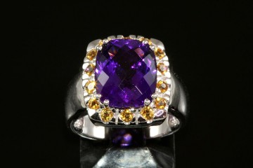 14kwg amethyst and citrine ring