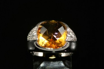 14kwg citrine and diamond ring