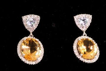 14kwg topaz, diamond and citrine earrings