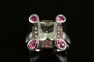 14kwg green quartz, pink tourmaline and diamond ring