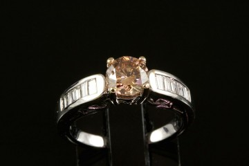 18kwg natural brown diamond engagement ring