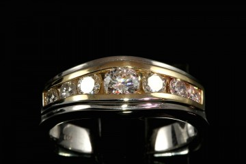14k two tone diamond channel band