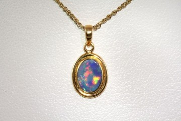 10k gold-plated opal pendant