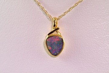 10k gold plated opal pendant