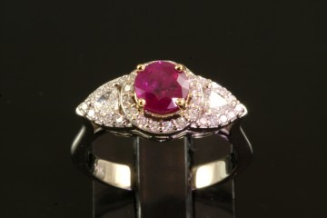 14kw/18ky ruby and diamond ring