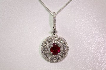 14kwg ruby and diamond pendant