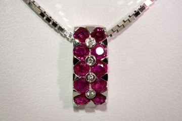 18kwg ruby and diamond pendant