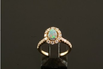 14kyg black opal and diamond ring