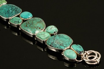 Sterling silver multi-stone turquoise bracelet
