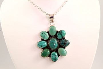 Sterling silver multi-turquoise pendant