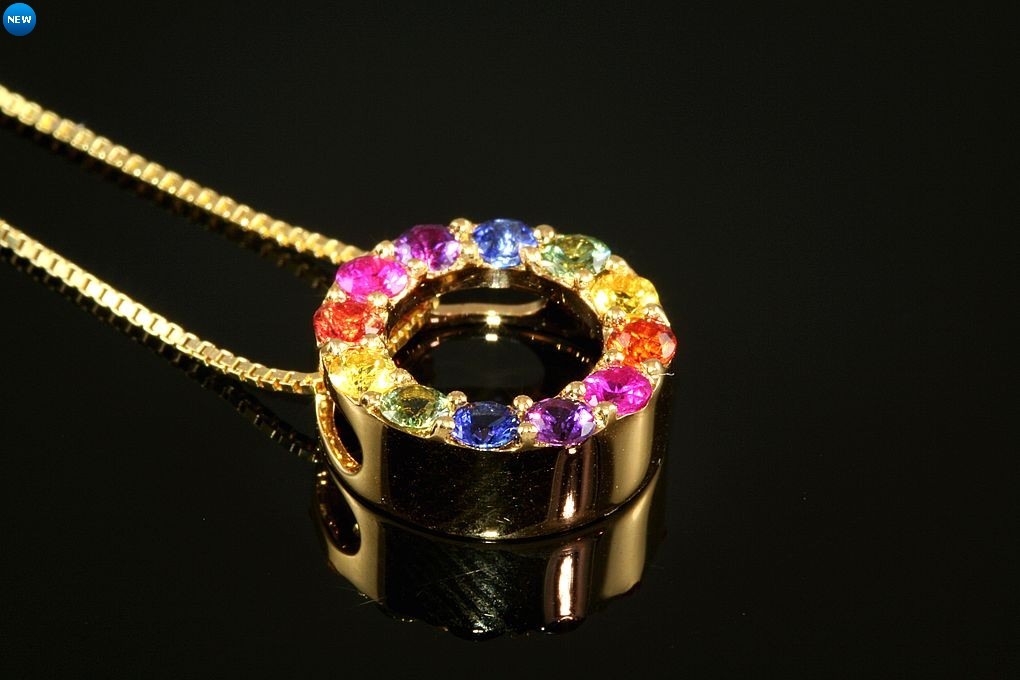 18kyg multi color sapphire circle pendant mozeypictures Image collections