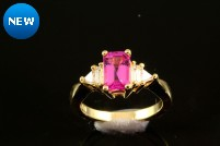 18kyg pink sapphire and diamond ring