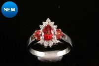 14kwg padparadscha sapphire and diamond ring