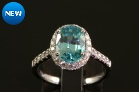 14kwg blue zircon and diamond ring