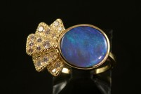 18kyg black opal and diamond ring