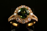 14k green tourmaline and diamond ring