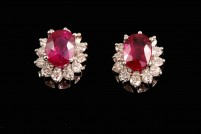 18kwg ruby and diamond earrings