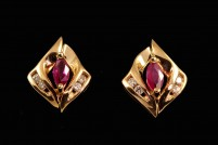 14kyg ruby and diamond earrings