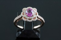 14kr pink sapphire and diamond ring