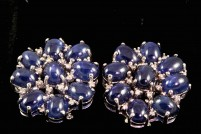 18kwg cabochon sapphire and diamond earrings.  Orig. $3150.00