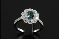 18kwg Paraiba tourmaline and diamond ring